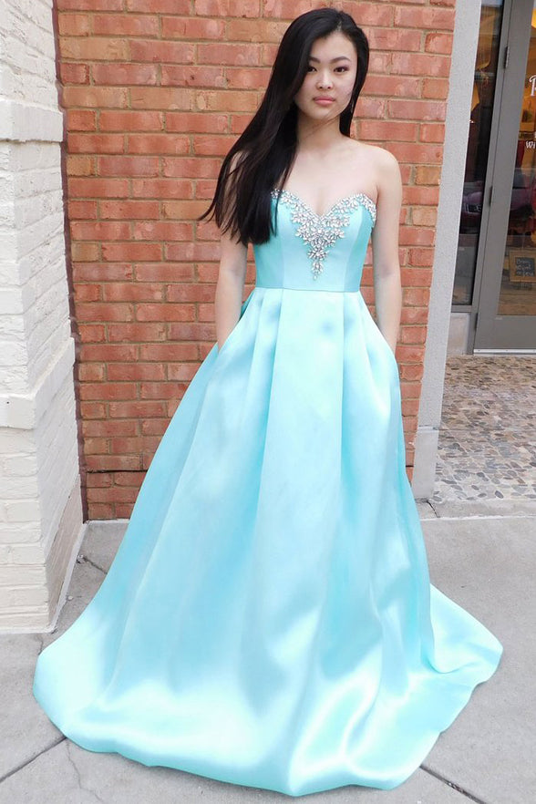 Sweetheart Light Blue Plus Size Prom Dresses Evening Formal Dress With Pocket LD1028