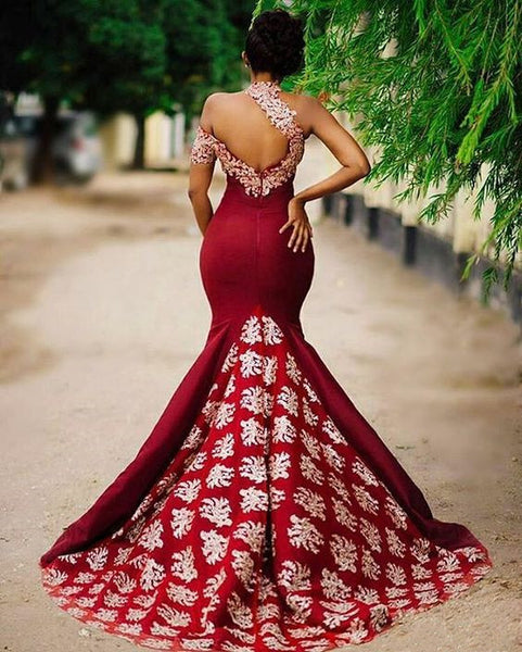 New Arrival Ivory Lace Burgundy One Shoulder Mermaid Long Evening Prom Dresses Party Gowns LD102