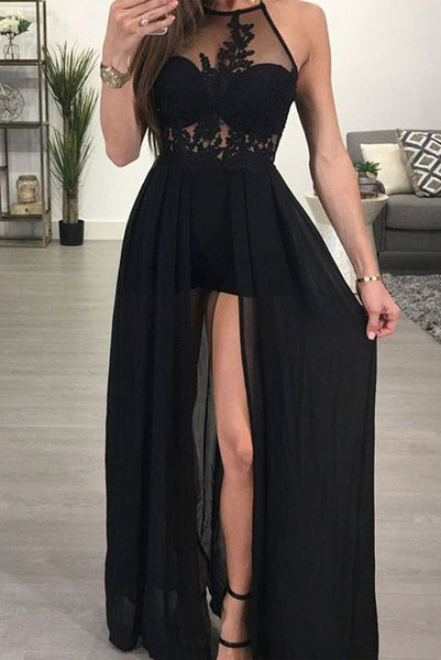 Fashion Halter Black Appliques Backless Long Prom Dress Evening Party Dresses LD1032