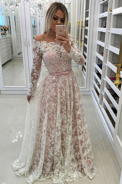 Fashion Long Sleeves Ivory Lace A Line Prom Dresses Evening Formal Dress Gowns LD1034