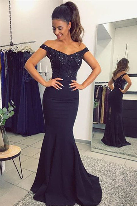 Off the Shoulder Navy Blue Appliques Mermaid Prom Dresses Evening Formal Dress LD1036