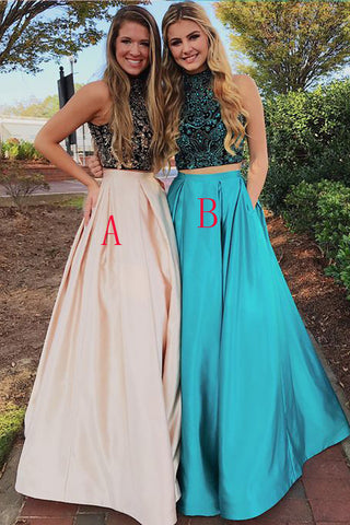 2 Pieces High Neck Pink Bodice Beaded Prom Dresses Formal Dress With Pocket LD1038