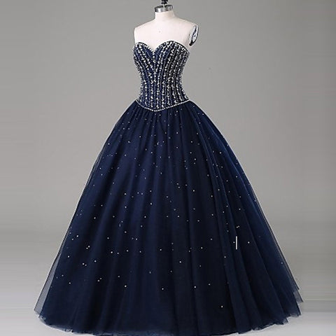 Navy Blue Beaded Bodice Sweetheart Quinceanera Dresses Evening Gowns LD103