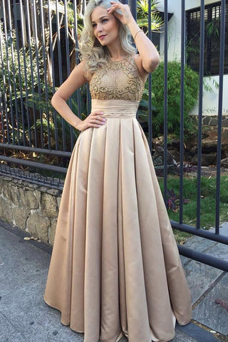 Fashion High Neck Empire Waist Long Prom Dresses Evening Formal