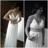 Cap Sleeves V Neck Ivory Chiffon Empire Waist Pregnant Prom Dresses Evening Formal Dress LD1047