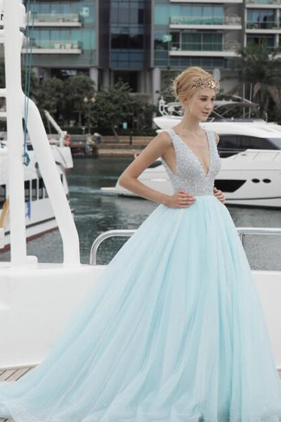 V Neck Off the Shoulder Backless Beaded Ball Gown Prom Dresses Formal Party Dress LD1048