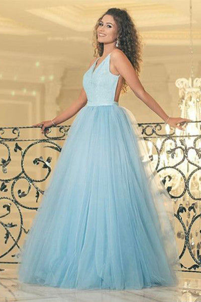 Fashion V Neck Spaghetti Straps Light Blue Backless Prom Dresses Formal Dress LD1050