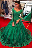 Long Sleeves Green Lace V Neck Ball Gown Prom Dresses Evening Formal Party Dress LD1051
