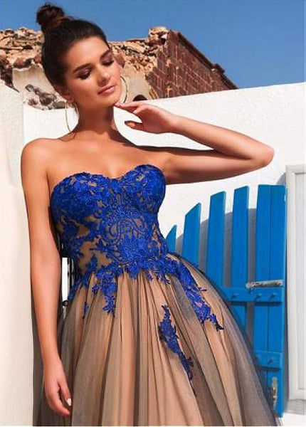 Chic A Line Royal Blue Lace Black Tulle Pregnant Prom Dresses Formal Party Dress LD1053
