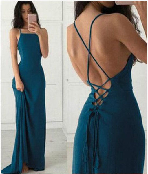Open Back Emerald Green Spaghetti Straps Sheath Prom Dresses Formal Party Dress LD1056