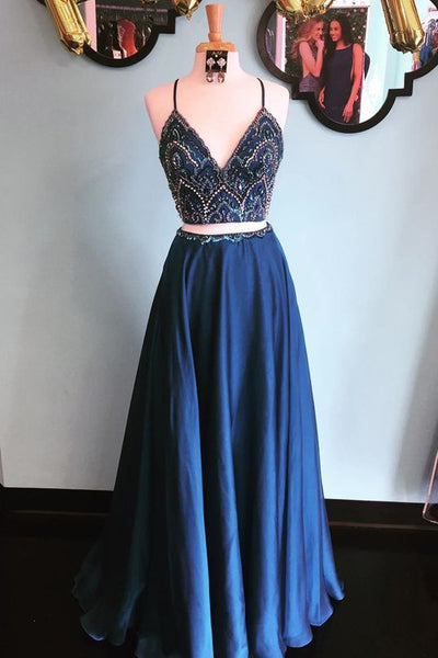 Two Pieces Spaghetti Straps Navy Blue V Neck Beaded Prom Dresses Formal Party Dress LD1058
