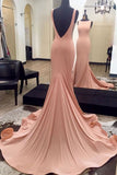 Elegant Backless Blush Pink Mermaid Long Evening Prom Dresses LD105