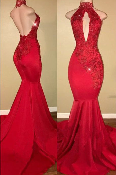 Sexy Red Lace Appliques Mermaid Halter Backless Prom Dresses Evening Formal Dress LD1063