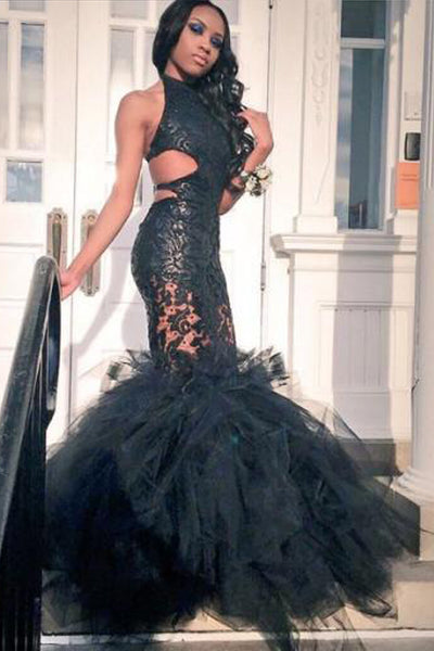 Sexy Halter Black Lace Open Back Mermaid Tiered Prom Dresses Formal Evening Dress LD1065