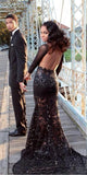 Gorgeous Long Sleeves Mermaid Backless Black Lace Prom Dresses Formal Party Dress LD1066