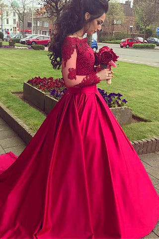 8f6688814 Princess Long Sleeves Hot Pink Lace Ball Gown Prom Dresses Party Dress –  Laurafashionshop
