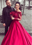 Princess Long Sleeves Hot Pink Lace Satin Ball Gown Prom Dresses Evening Party Dress LD1069