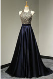 Hot Sales Halter Black Satin Long Backless Prom Dresses Evening Gowns LD106