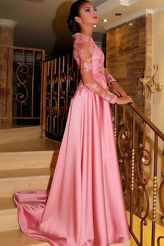 A Line Princess Long Sleeves Lace High Quality Prom Dress Formal Party Dresses LD1070