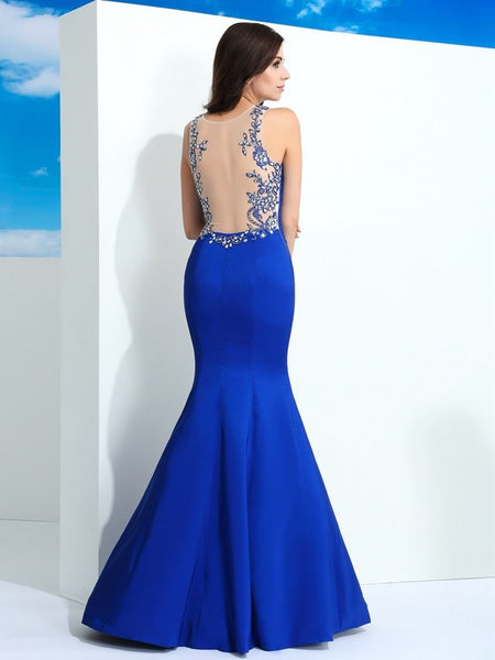 Fashion Royal Blue See Through Back Sleeveless Mermaid Prom Dresses Formal Dress LD1072