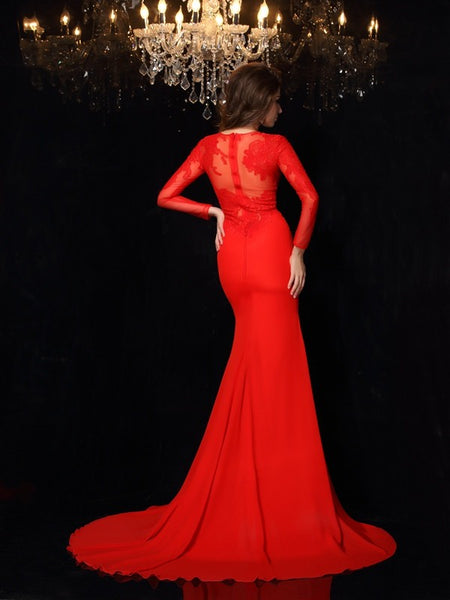 Charming Long Sleeves Mermaid See Through Appliques Red Prom Dresses Formal Dress LD1073