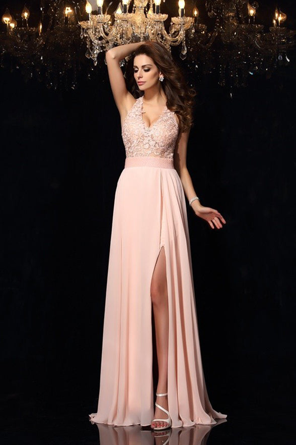 Open Back A Line Lace Appliques Halter Skin Pink Slit Prom Dresses Evening Formal Dress LD1075