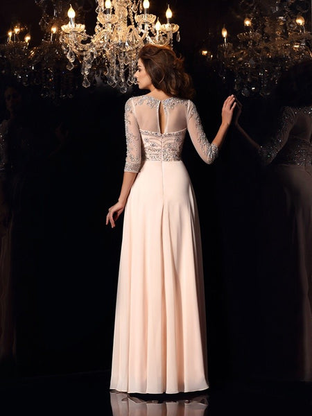 3/4 Long Sleeves See Through Blush Pink Beaded Prom Dresses Evening Formal Dress LD1076