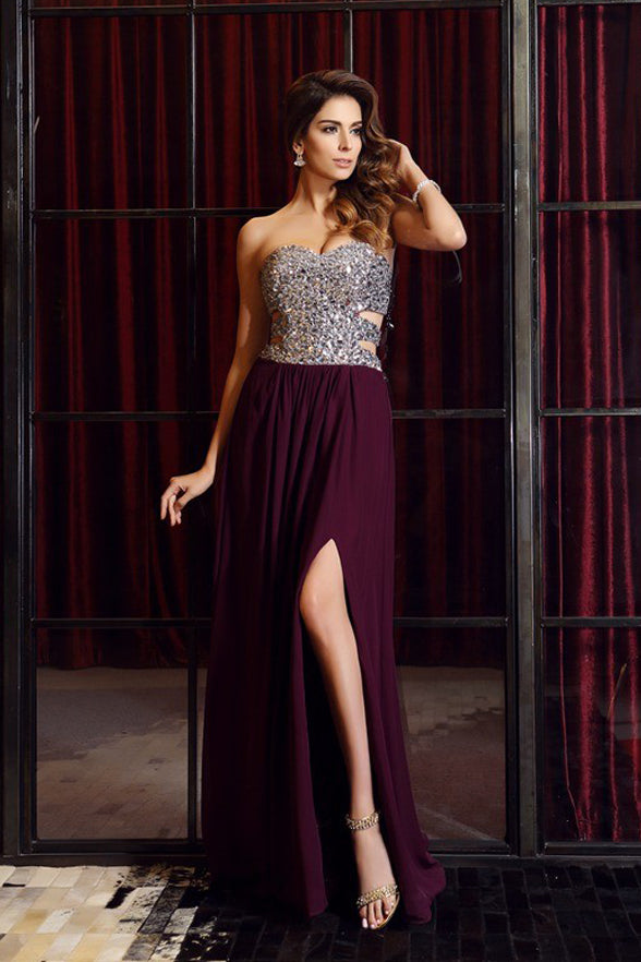 Fashion A Line Sweetheart Grape Crystals Split Long Prom Dresses Evening Formal Dress LD1078