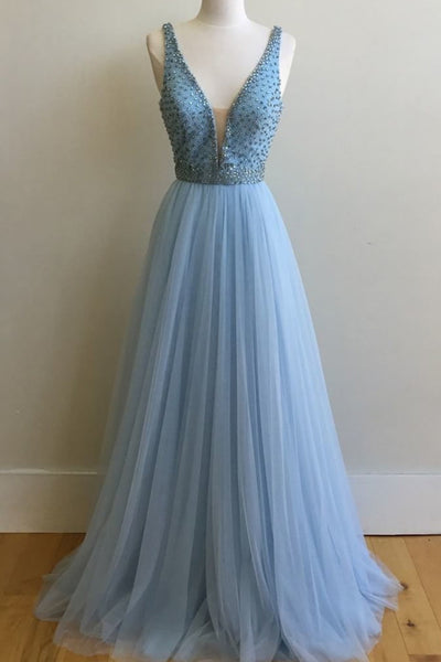 Light Blue Deep V Neck A Line Long Prom Dresses Evening Gowns LD107