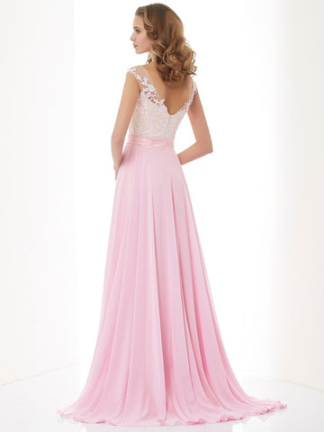 Stunning A Line Pink Lace Chiffon Back V Long Prom Dress Evening Formal Dresses LD1080