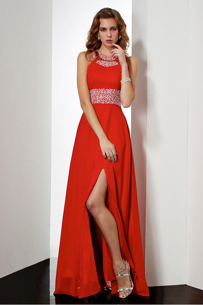 High Neck Open Back Split Red Chiffon Beaded Long Prom Dress Evening Party Dresses LD1083