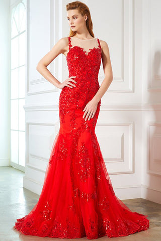 Fashion Red Lace Sequin Appliques See Through Mermaid Prom Dresses Formal Party Dress LD1084