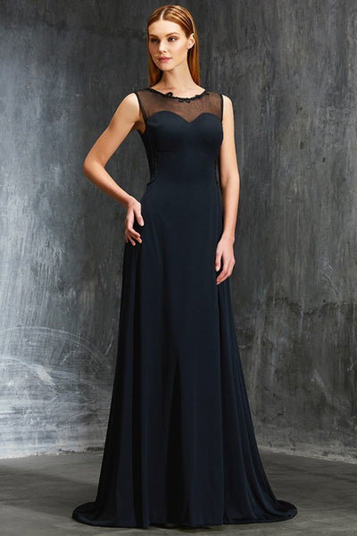 Chic Open Back Black Appliques Sleeveless Long Prom Dresses Evening Party Dress LD1085