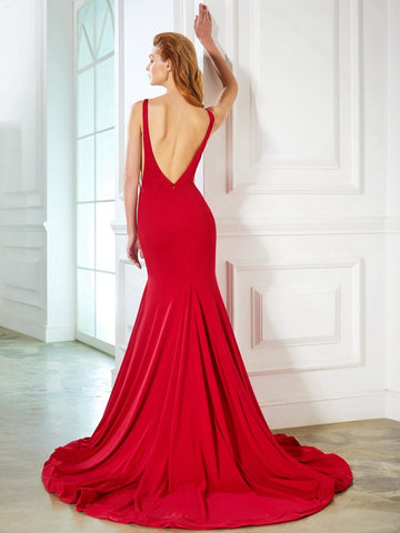 Elegant Red Backless Chapel Train Cheap Mermaid Prom Dresses Evening Gowns Party Dress LD1086