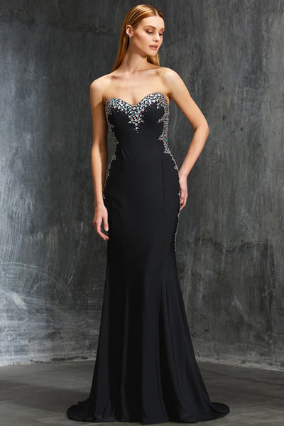 Sexy Black Sheath Open Back Sweetheart Beaded Prom Dresses Evening Gowns Party Dress LD1087