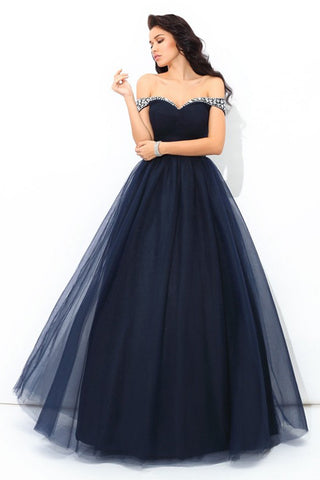 Fashion Navy Blue Tulle Plus Size Long Prom Dress Evening Formal