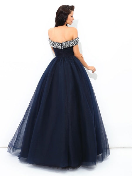 Fashion Navy Blue Tulle Off the Shoulder Plus Size Long Prom Dresses Evening Formal Dress LD1088