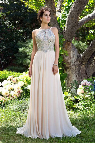 Fashion Open Back Light Blush Pink A Line Long Prom Dresses Evening Gowns Party Dress LD1090