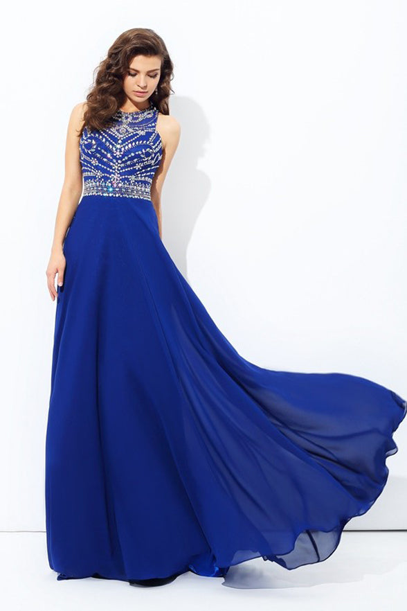 Hot Sales Royal Blue Chiffon Backless Long Prom Dresses Evening Gowns Party Dress LD1091