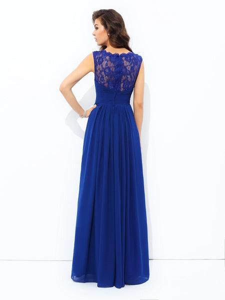 Off the Shoulder A Line Lace Floor Length Royal Blue Prom Dresses Evening Formal Dress LD1092