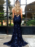 Shiny Dark Blue Sequin Lace Mermaid Backless Sexy Prom Dresses Evening Party Dress LD1093