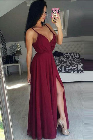 Simple V Neck Spaghetti Straps Burgundy Split Prom Dresses Evening Gowns Party Dress LD1094