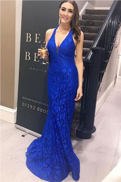 Chic V Neck Royal Blue Lace Mermaid Long Prom Dresses Evening Gowns Party Dress LD1097
