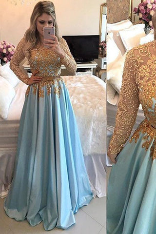 Fashion Long Sleeves Gold Lace A Line Beaded Prom Dress Evening Gown Party Dresses LD1098