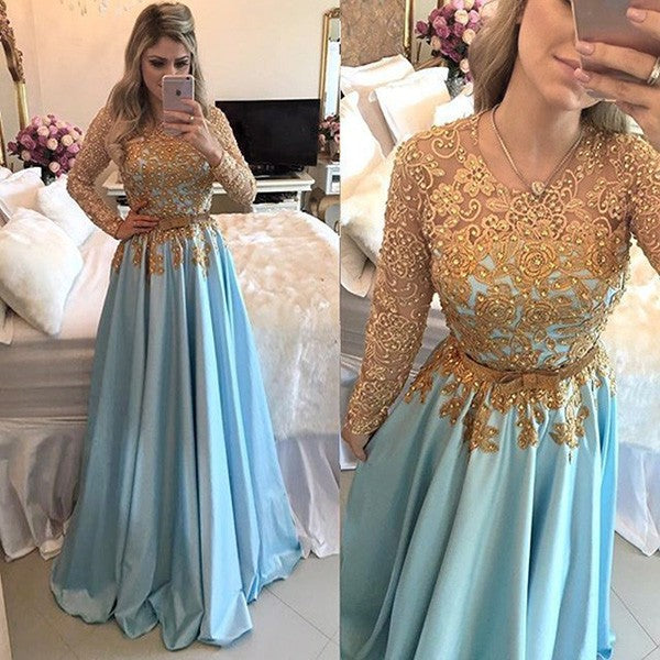 fashion sleeves gold lace a line beaded prom dresses
