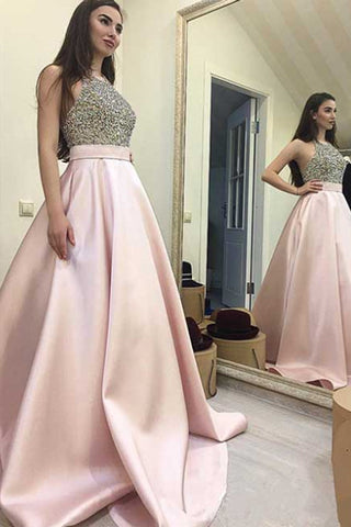 Halter Pink Satin Beads Ball Gown Prom Dress Graduation Dresses LD109