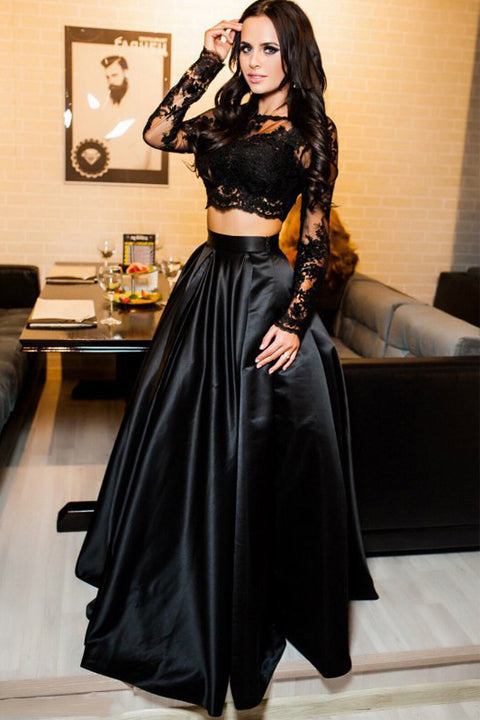 long sleeves black lace 2 piece prom dresses evening gown