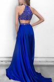 New 2018 Halter Backless Rhinestones Bodice Royal Blue Prom Dresses Evening Dress LD1101