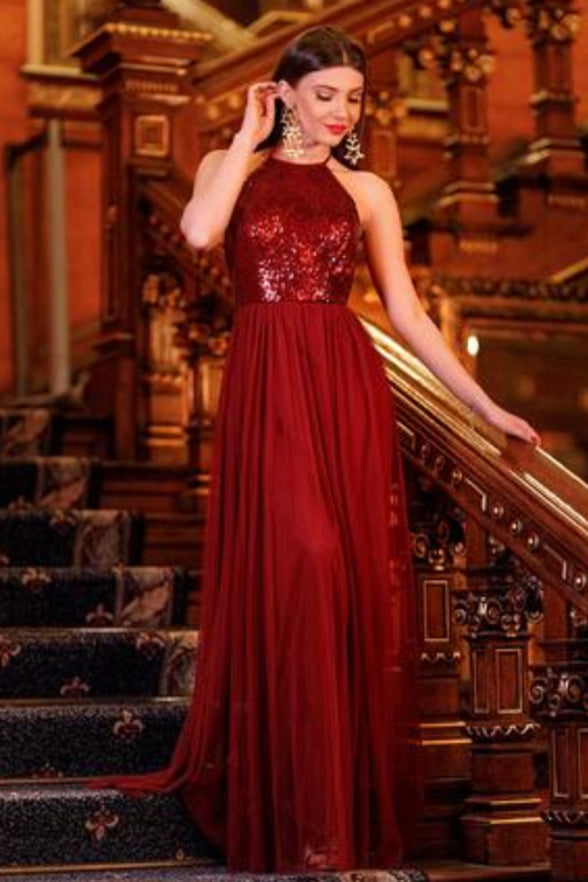 A Line Burgundy Sequin Long Halter Shiny Prom Dresses Evening Formal Dress LD1106