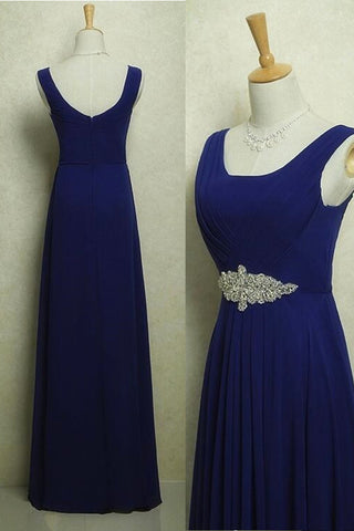 Dark Blue A Line Off the Shoulder Cheap Chiffon Prom Dresses Formal Party Dress LD1107